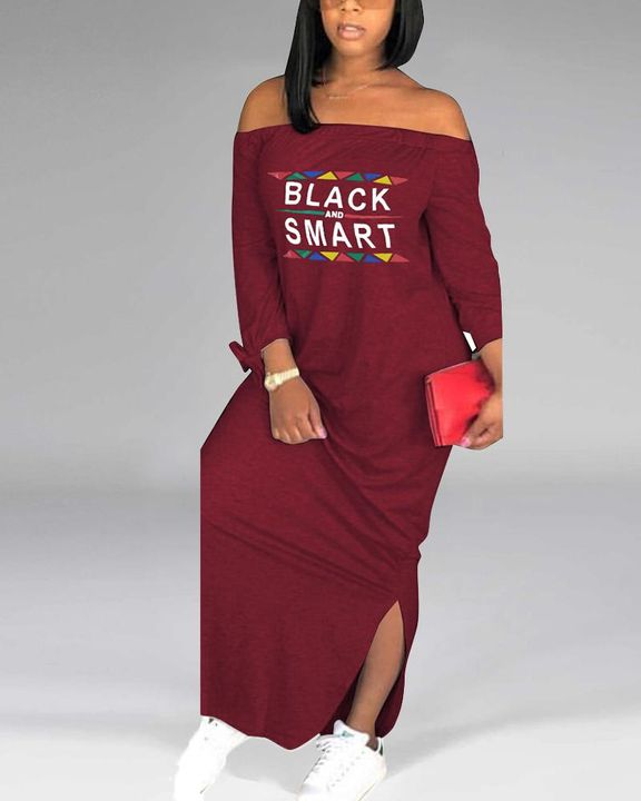 Letter Print Off Shoulder Split Hem Maxi Dress gallery 5