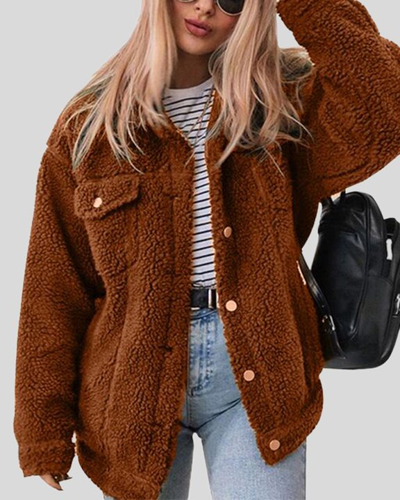 Faux Fur Flap Pocket Button Up Coat gallery 1