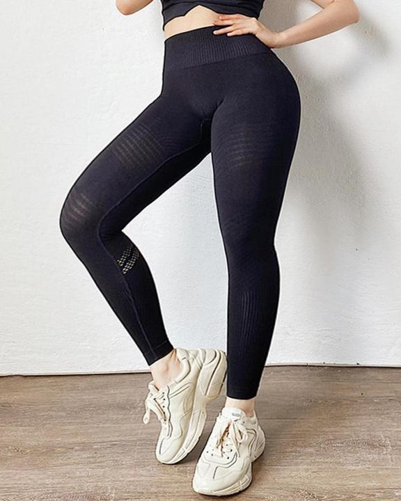 Hollow Out Ribbed Seamless Wide Waistband Sports Leggings gallery 8