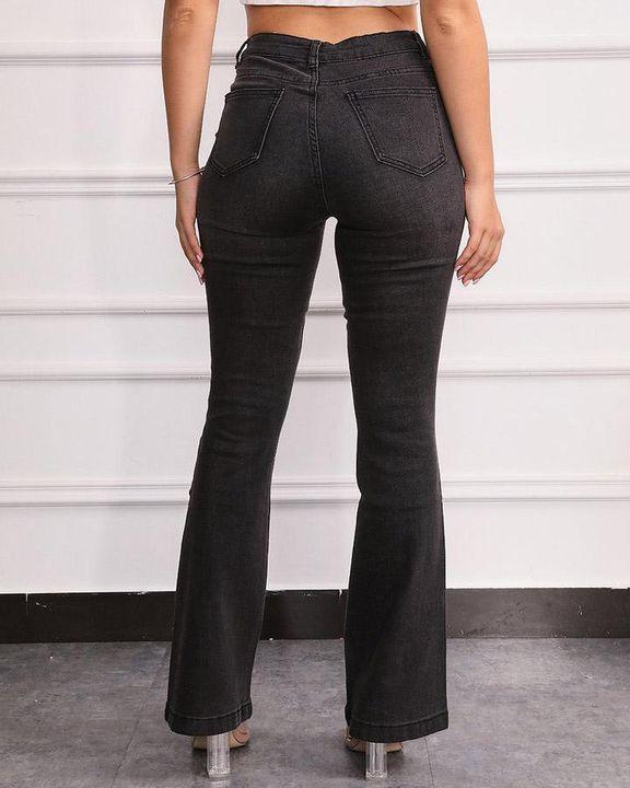 Split Hem High Waist Skinny Flare Jeans gallery 10