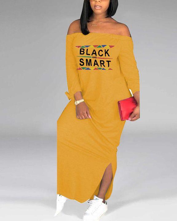 Letter Print Off Shoulder Split Hem Maxi Dress gallery 1