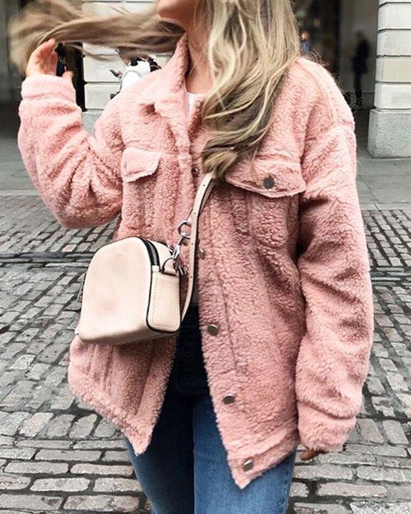 Faux Fur Flap Pocket Button Up Coat gallery 6