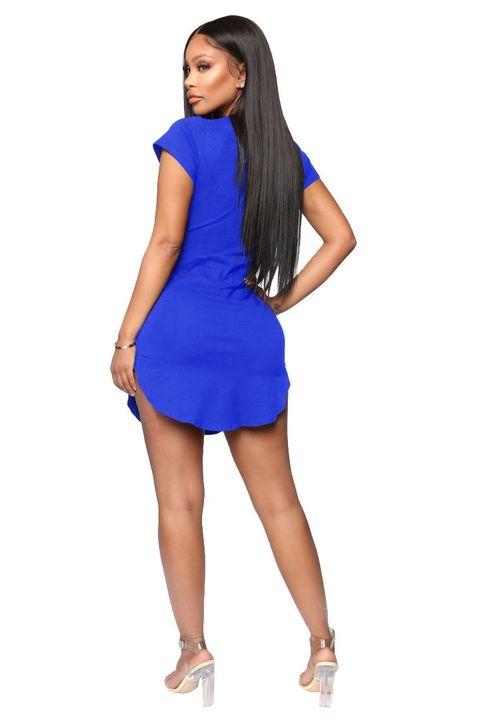 Solid Scoop Neck Side Slit Mini Dress gallery 16