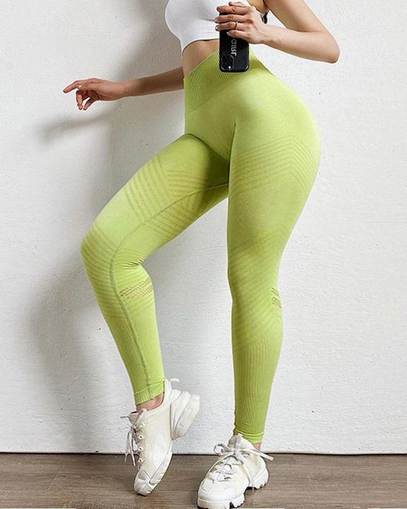 Hollow Out Ribbed Seamless Wide Waistband Sports Leggings gallery 12