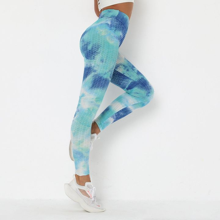 Seaside Tie Dye Textured Butt Lifting Ruched Leggings gallery 10