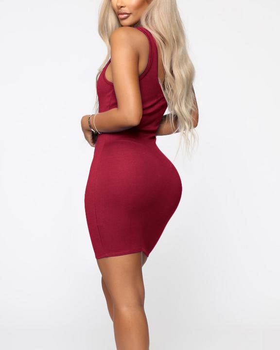 Plain Thick Strap Bodycon Mini Dress gallery 15