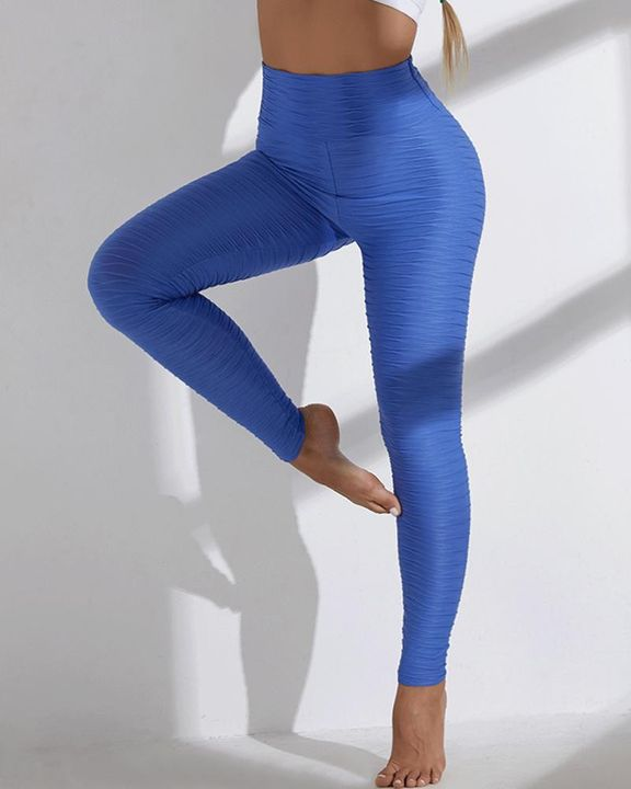 Solid Textured Wide Waistband Sports Leggings gallery 12