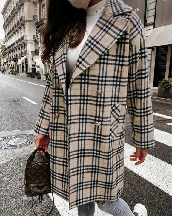 Plaid Print Double Breasted Coat gallery 3