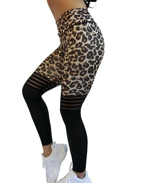 Laser Cut Out Leopard Print Wide Waistband Sports Leggings gallery 5