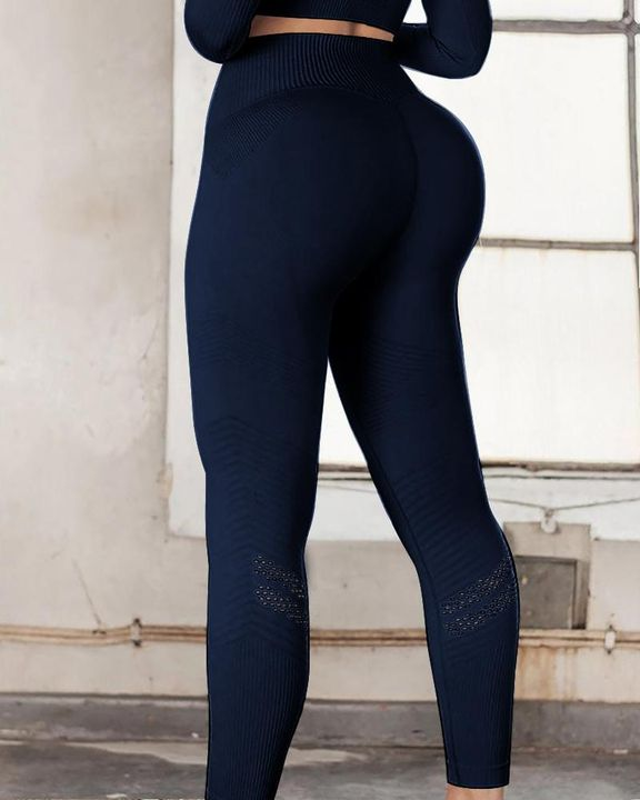 Hollow Out Ribbed Seamless Wide Waistband Sports Leggings gallery 4