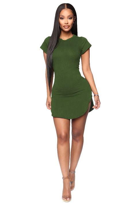 Solid Scoop Neck Side Slit Mini Dress gallery 9