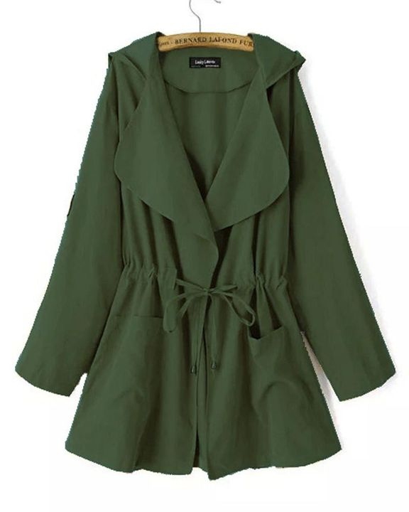 Solid Drawstring Waist Dual Pocket Front Hooded Coat gallery 4