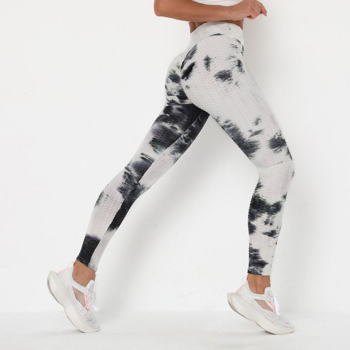 Smoke Tie Dye Textured Butt Lifting Ruched Leggings gallery 2