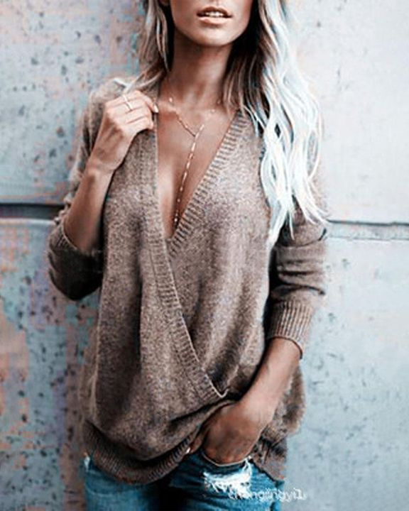 Surplice Neck Drop Shoulder Sweater gallery 3