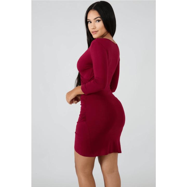 Deep V-Neck Wrap Ruched Irregular Hem Mini Dress gallery 10