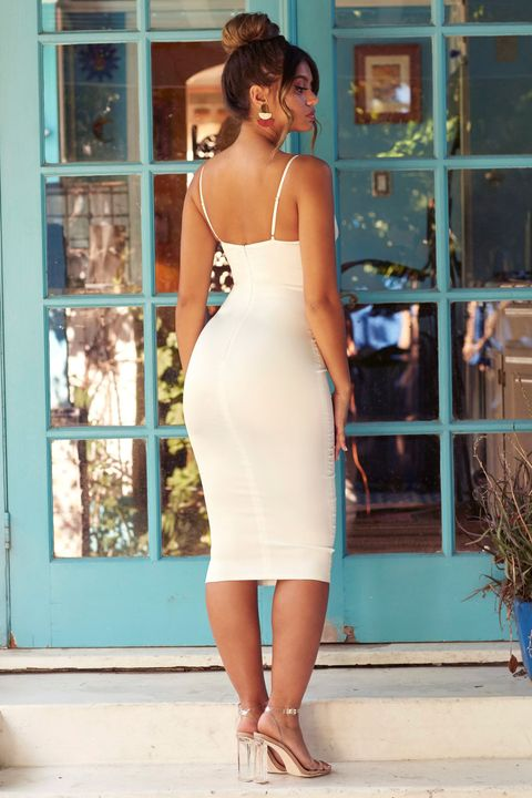 Satin Cut Out Front Cup Detail Midi Dress gallery 12