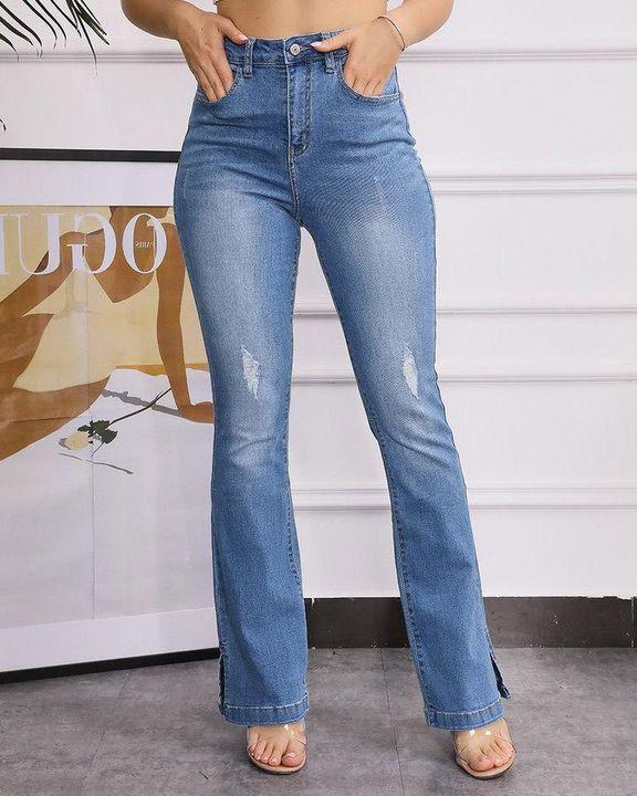 Split Hem High Waist Skinny Flare Jeans gallery 5