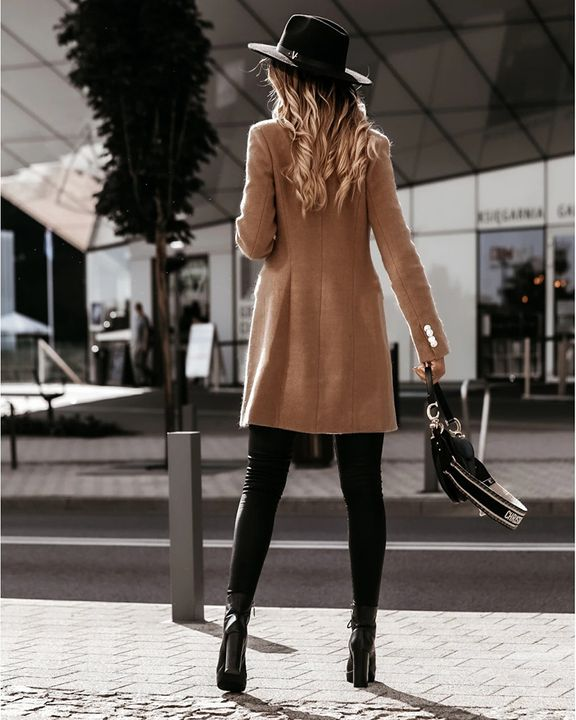 Solid Double Breasted Lapel Neck Coat gallery 7