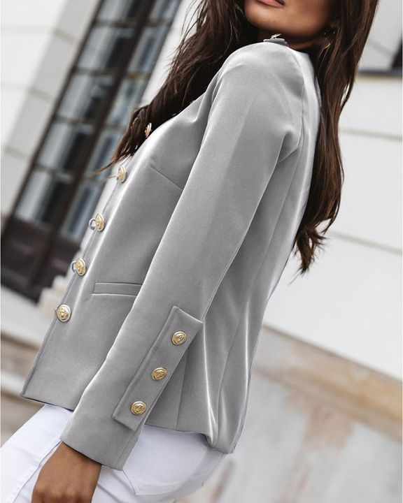 Button Up Front Pocket Detail Tailored Jacket gallery 18