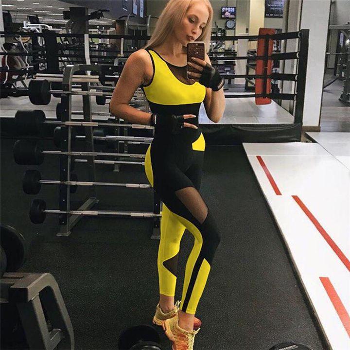 Color Block Mesh Patchwork Fitness Jumpsuit gallery 2