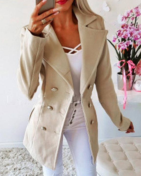 Double Breasted Lapel Neck Coat gallery 6