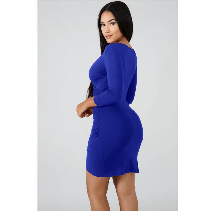 Deep V-Neck Wrap Ruched Irregular Hem Mini Dress gallery 13