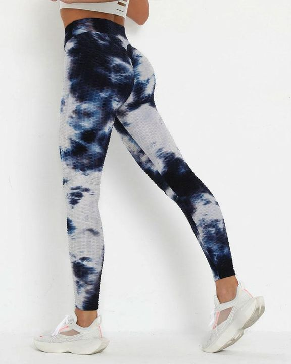 Porcelain Tie Dye Textured Butt Lifting Ruched Leggings gallery 1