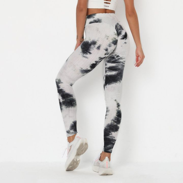 Smoke Tie Dye Textured Butt Lifting Ruched Leggings gallery 4