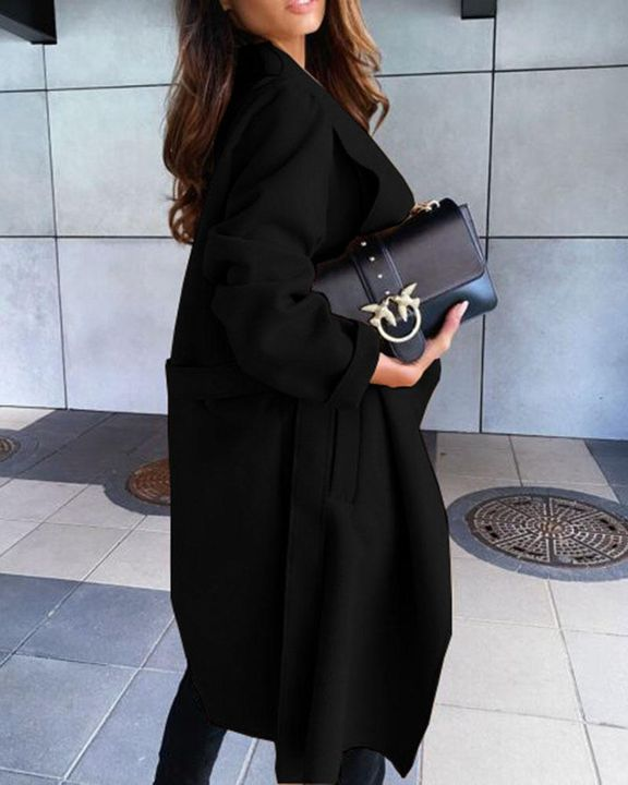 Solid Belted Pocket Detail Waterfall Coat gallery 4
