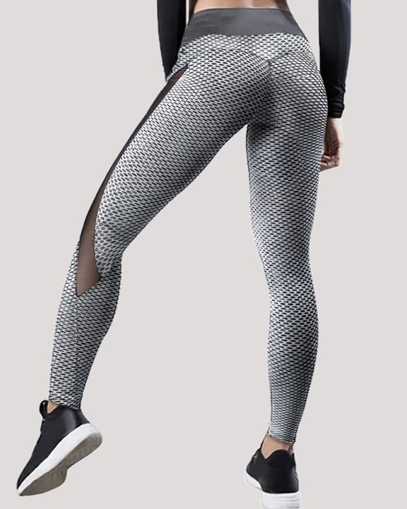 Textured Contrast Mesh Butt Lifting Sports Leggings gallery 1