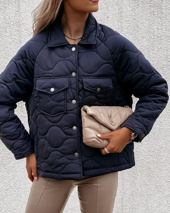 Solid Pocket Detail Button Up Coat gallery 13