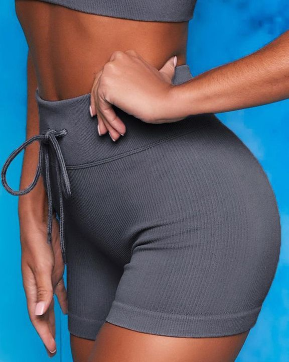 Ribbed Knit Drawstring Waist Butt Lifting Seamless Sports Shorts gallery 6