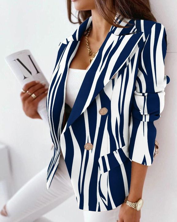 Allover Print Double Breasted Blazer gallery 6