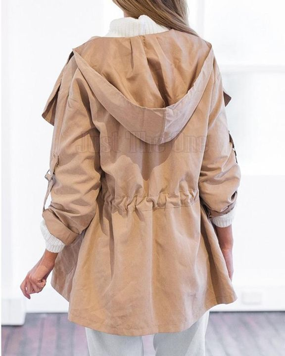 Solid Drawstring Waist Dual Pocket Front Hooded Coat gallery 5