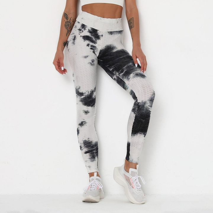 Smoke Tie Dye Textured Butt Lifting Ruched Leggings gallery 6