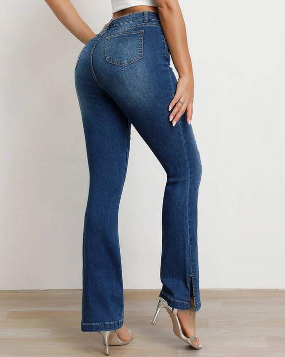 Split Hem High Waist Skinny Flare Jeans gallery 12
