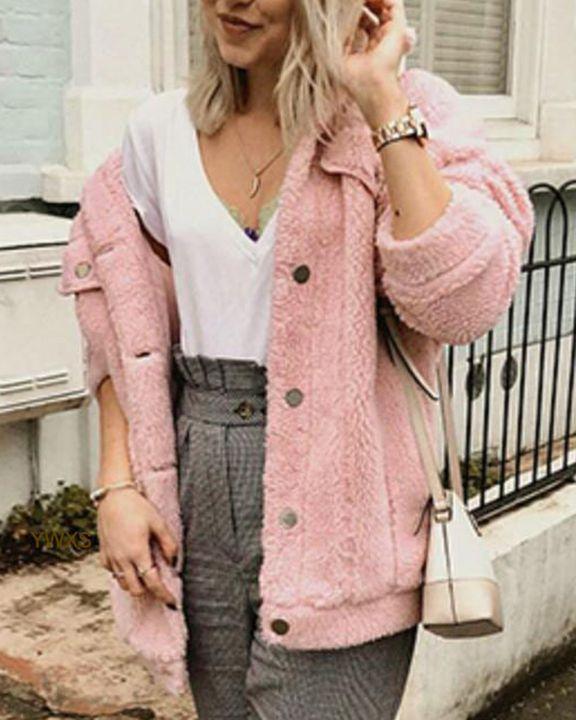 Faux Fur Flap Pocket Button Up Coat gallery 5