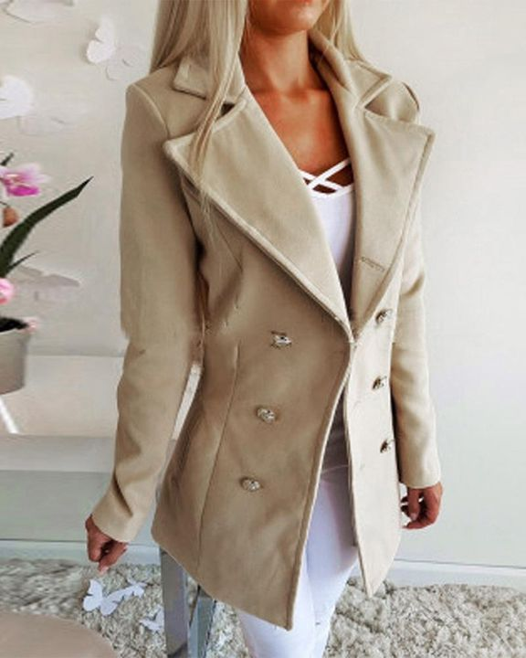 Double Breasted Lapel Neck Coat gallery 7