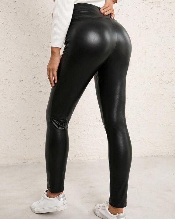 High Waist Butt Lifting PU Pants gallery 7