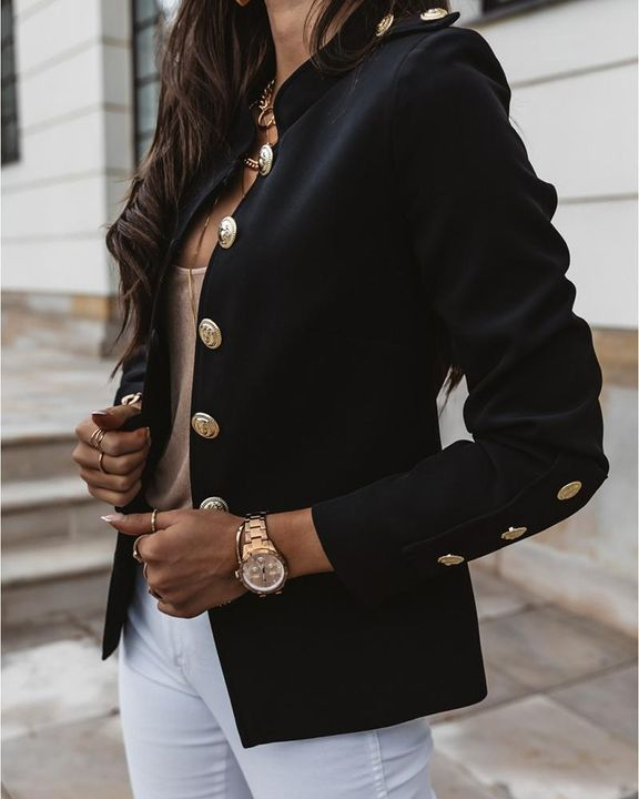 Button Up Front Pocket Detail Tailored Jacket gallery 8