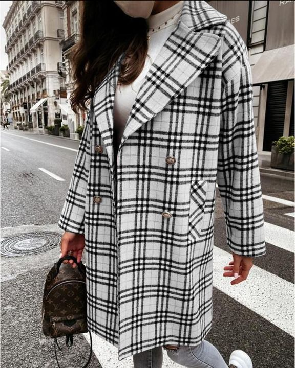 Plaid Print Double Breasted Coat gallery 2