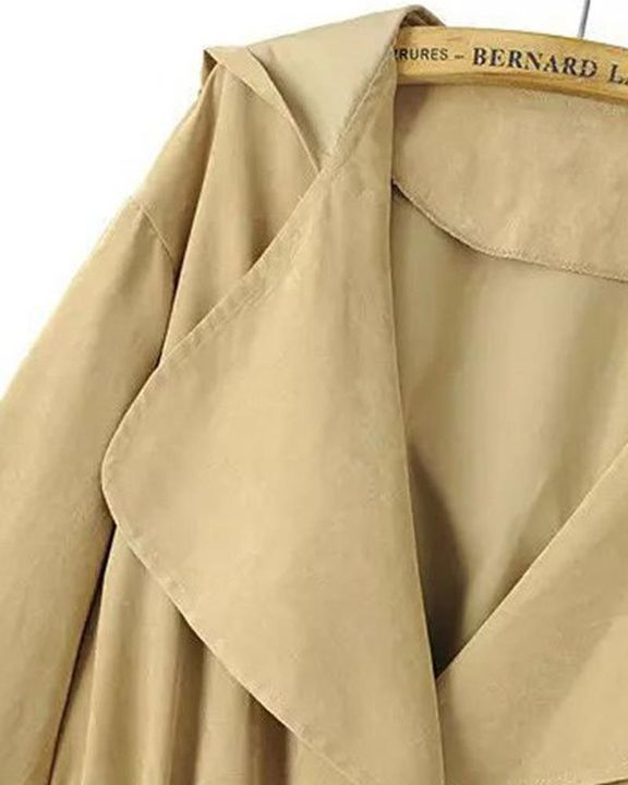 Solid Drawstring Waist Dual Pocket Front Hooded Coat gallery 11