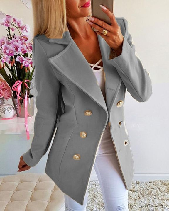 Double Breasted Lapel Neck Coat gallery 3