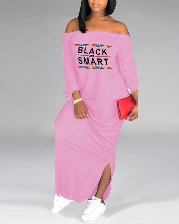 Letter Print Off Shoulder Split Hem Maxi Dress gallery 8