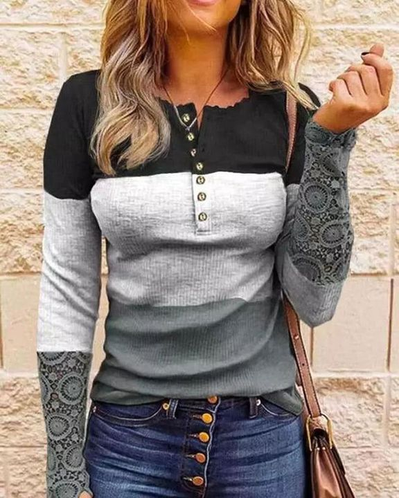 Striped Contrast Lace Button Front Sweater gallery 2