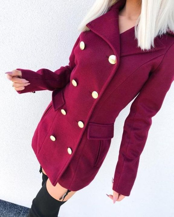 Solid Double Breasted Pocket Detail Coat gallery 10