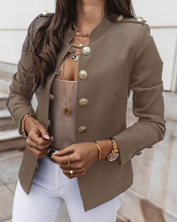 Button Up Front Pocket Detail Tailored Jacket gallery 13