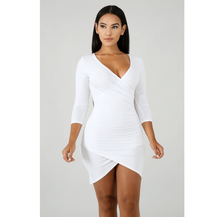 Deep V-Neck Wrap Ruched Irregular Hem Mini Dress gallery 7