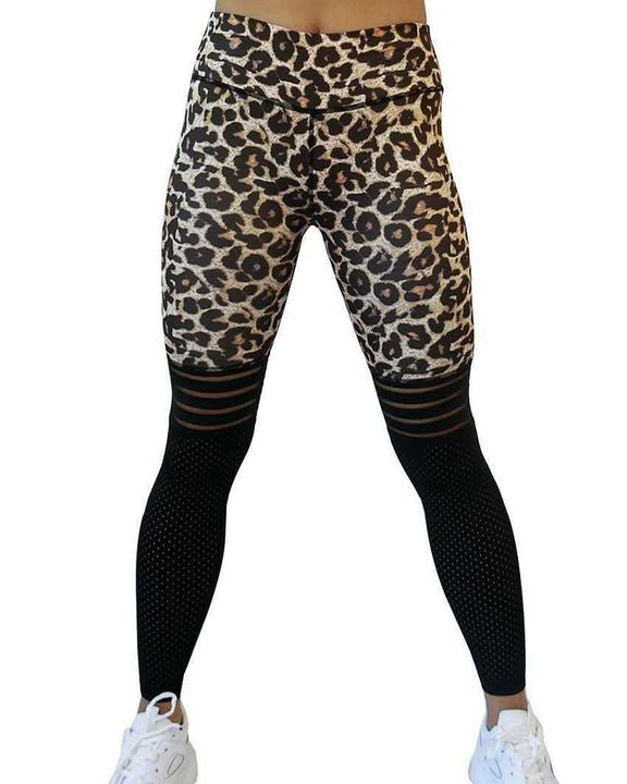 Laser Cut Out Leopard Print Wide Waistband Sports Leggings gallery 3