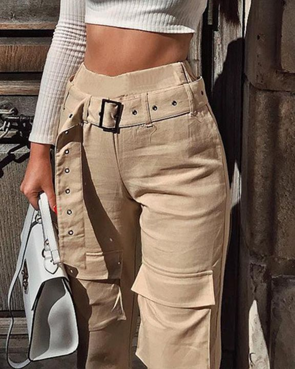 High Waist Belted Pocket Detail Pants gallery 4